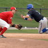 Illinois State's Ryan Court drops the ball before Indiana State's Lucas Hileman collides with him and reaches third base Saturday, April 30, 2011, during the ninth inning at Duffy Bass Field in Normal.    (Pantagraph/CARLOS T. MIRANDA)