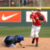 Illinois State's Bryan Huff throws to first on a double play as Indiana State's Ryan Court slides into second base Saturday, April 30, 2011, during the seventh inning at Duffy Bass Field in Normal.    (Pantagraph/CARLOS T. MIRANDA)