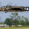 Low pass: A B-25 flies low and slow above a Hulman International Airport runway Friday morning as it makes a stop in Terre Haute.