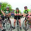 Jay's: Cyclists Joe Van Denburg, Chad Smith, Andy Boneff, Todd Harver and Jerry Harnack meet Monday evening to ride as a group into Illinois.