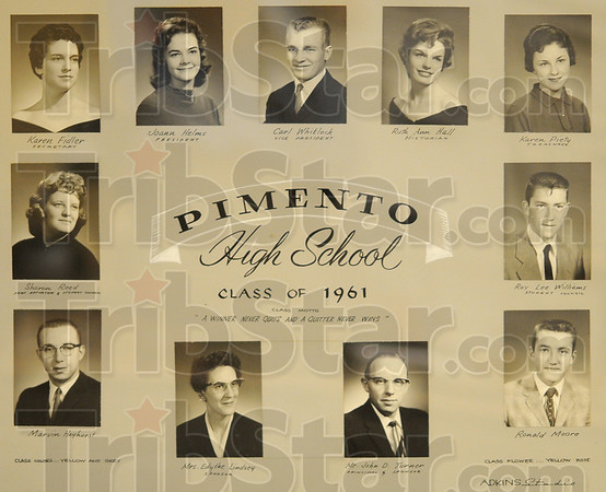 Tribune-Star/Jim Avelis<br /> All nine: A photo collage of the graduating clas of 1961 from Pimento High School, is one of the thousands of itmes in the Education Heritage collection.