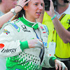 IndyCar driver Simona De Silvestro, of Switzerland, is assisted with her hair as she prepares to drive during practice on the first day of qualifications for the Indianapolis 500  auto race at the Indianapolis Motor Speedway in Indianapolis, Saturday, May 21, 2011. De Silvestro was burned on her hands in a crash on  Thursday. (AP Photo/Darron Cummings)