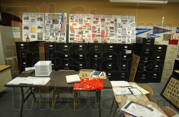 Tribune-Star/Jim Avelis<br /> Work to be done: The room at Sugar Creek Consolidated Elementary School that houses the Education Heritage Museum has artifacts in nearly every available space.