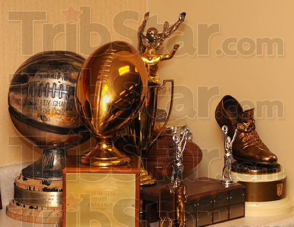 Tribune-Star/Jim Avelis<br /> Part of education: SEveral trophies have been donated tot eh Education Museum, including at least two of the Tribune-Stars' traveling trophies.