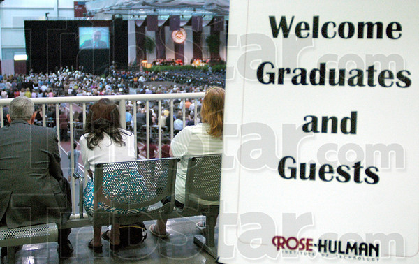 Welcome: A sign welcomes graduates and Guests to the Rose-Hulman Commencement Saturday morning.
