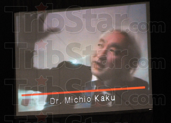 Video image: Dr. Michio Kaku speaks via a recorded video to the graduating class of Rose-Hulman Saturday morning.