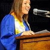 Tribune-Star/Jim Avelis<br /> Speaker: Anna Smith, a Communication major from Columbus was the Student Speaker at ISUs 140th Commencement Saturday.