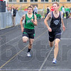 Tribune-Star/Jim Avelis<br /> At the line: Patriot runner Dakota Schefke, second from left, won the boys 100 meter dash, followed by Joel Whittington., second from right. Also running were Travis Rubey, Jacob Creasey and Jonathan Weakley.