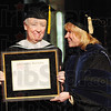 Tribune-Star/Rachel Keyes<br /> Being honored: Patricia Crowley receives an honorary Ph.D.. from St. Mary of the Woods College for her service. She also gave the Commencement Address at the 2011 graduation ceremonies.