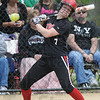 Tribune-Star/Rachel Keyes<br /> Dodge ball: Terre Haute South's Cheyenne Reinig leans back at a ball as it crosses the plate a little high in action Saturday at the Big Four Classic.