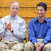 Hand: Governor Mitch Daniels applauds the scholastic record of Joseph Botros Wednesday afternoon.