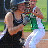 Tribune-Star/Jim Avelis<br /> Help yourself: North Central pitcher Ashli Scott throws out Knight batter Ashley Hughes in late inning action Wednesday evening on the Northview diamond.