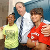 Tribune-Star/Jim Avelis<br /> Class of the class: Daiju Rivera and Shaylaa Maxwell pose with Sarah Scott principal Mark Miller Wednesday afternoon just before school let out.