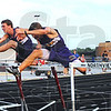 Tribune-Star/Jim Avelis<br /> First hurdle: Joel Whittington of Northview, second from left, eventually won the boys' 110 meter hurdles.