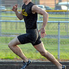 Tribune-Star/Jim Avelis<br /> Good enough: James Craigmyle runs his preliminary heat in the 200 meter dash Wednesday eveing in the WIC conference meet.