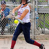 Tribune-Star/Jim Avelis<br /> At the plate: Riverton=-Parke standout Haley Chambers raps a hit in early action against Terre Haute South.