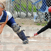 Tribune-Star/Jim Avelis<br /> No chance: Riverton-Parke catcher Mikayla Grindle has no chance to tag Terre Haute South baserunner Ashley Watkins.