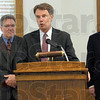 Prison crime: Joseph H. Hogsett, United States Attorney  vows to prosecute crimes at the Federal Correctional Complex during Wednesday's news conference. At left is Tom Kieper and right is James M. Warden, both U.S. Attorneys.
