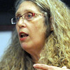 Presentation: Cinda May narrates her presentation at the Cunningham Memorial Library Wednesday evening.