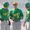Tribune-Star/Jim Avelis<br /> Teaching: North Central baseball coach Craig Grow talks with Nate and Zach Lyday at the start of the Thunderbirds' game with West Vigo Friday evening.