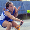 Tribune-Star/Jim Avelis<br /> Going low: Morgan Cook goes low to return a volley to Tabitha Fagg in their match.