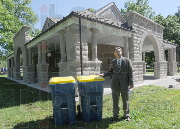 Recycling program: Mayor Duke Bennett announces the recycling experiment for the Collett Park area Monday morning.