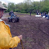 Tribune-Star/Jim Avelis<br /> Watch and wait: Dave Voges watches the filling of sandbags by trustees and volunteers.