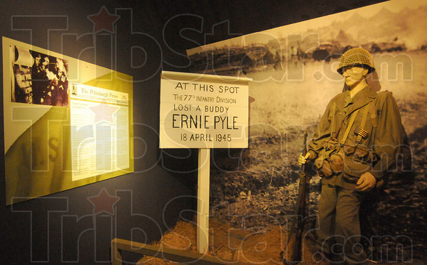 Tribune-Star/Rachel Keyes<br /> Fallen friend: A mock up of the spot the 77th Infantry division lost Ernie Pyle in action on April 18th 1945 is located in Dana at the Ernie Pyle home.