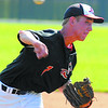 Good enough: Daniel Marlow pitched innings for the Terre Haute South Braves in the morning  game.