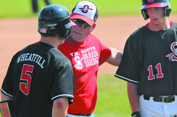 Instructioons: Terre Haute South coach Kyle Kraemer talks with Richard Wheatfill and Luke Vaccaro during a break in the action Monday morning in Plainfield.
