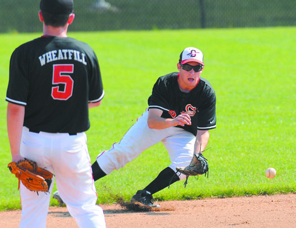 Observer: Terre Haute South thirdbaseman Richard Wheatfill watchers shortstop Jacob Johnson scoop up a ground ball.