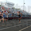Tribune-Star/Jim Avelis<br /> Easy win: Patriot sprinter Dakota Schefke was an easy winner in the100 meter dash.