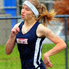 Tribune-Star/Jim Avelis<br /> Once around: Jessi Conley won the 400 meter dash for the Terre Haute North Patriots.
