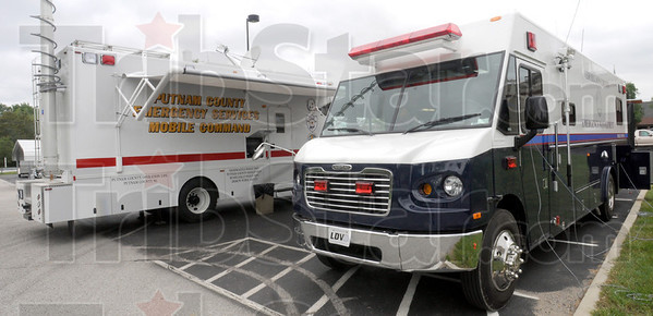 Mobile command: Clay County and Putnam County mobile command centers participate in Tuesday's disaster exercise.