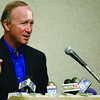 Indiana Gov. Mitch Daniels addresses the room during a press conference after Indiana's Education Roundtable at IUPUI Conference Center in Indianapolis, Tuesday, May 24, 2011. Two days ago Daniels announced he will not run for president in 2012. (AP Photo/The Star, Danese Kenon)