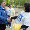 Tribune-Star/Jim Avelis<br /> Thanks: Terre Haute mayoral candidate Mick Love thanks volunteer poll worker Cindy Binns for her efforts Tuesday afternoon. Le Anna Love, center, drove her husband around the city to various polling sites encouraging workers.