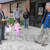Tribune-Star/Jim Avelis<br /> Contested: Adrian Manuel, half of the only contested race on the GOP side of the election, chats with Fred Nation poll worker Rick Shagley outside Devaney Elementary school Tuesday evening. With Manuel is his daughter Hayden. Also working the polls were Bryan and Ashley Schoen with their daughter Gabrielle, working for Sean Feeney.