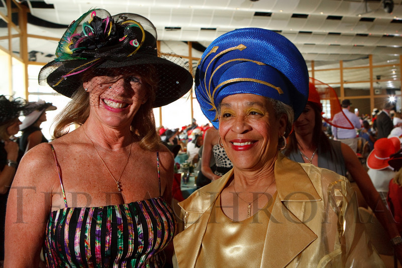 "(Denver, Colorado, May 4, 2011)<br /> Terri Fisher and Willie Parrish.  ""Women With Hattitude,"" benefiting the Women's Voices Fund, at the Donald R. Seawell Grand Ballroom in Denver, Colorado, on Wednesday, May 4, 2011.<br /> STEVE PETERSON"