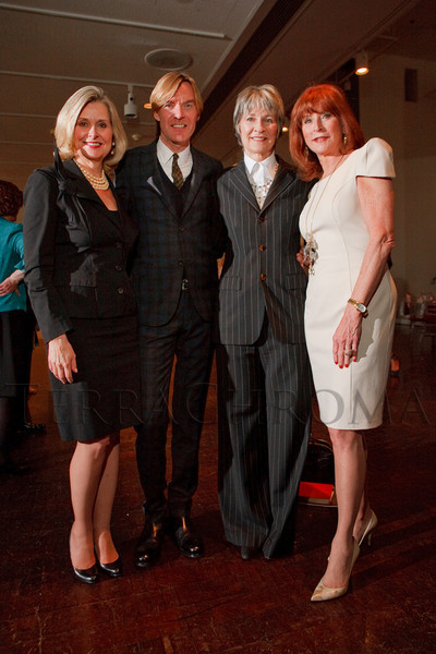 """(Denver, Colorado, May 4, 2011)<br /> Christel Dikeman (in Prada), Ken Downing (Neiman Marcus fashion director, in Gucci), Cathey Finlon (in a pinstripe suit by Jean Paul Gaultier), and Nancy Sagar (in Roland Mouret).  """"Luncheon By Design,"""" an event sponsored by Neiman Marcus and The Design Council, at the Denver Art Museum in Denver, Colorado, on Wednesday, May 4, 2011.<br /> STEVE PETERSON"""