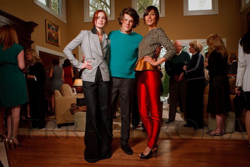 (Denver, Colorado, May 4, 2011)<br /> Ashley (left) and Taryn model outfits designed by Wes Gordon (center).  Trunk show by designer Wes Gordon at the home of Barbara Grogan in Denver, Colorado, on Wednesday, May 4, 2011.<br /> STEVE PETERSON