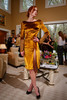 (Denver, Colorado, May 4, 2011)<br /> Ahsley in a gold panne velvet cocktail dress with hand-embroidered sleeves.  Trunk show by designer Wes Gordon at the home of Barbara Grogan in Denver, Colorado, on Wednesday, May 4, 2011.<br /> STEVE PETERSON