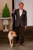 """(Denver, Colorado, May 21, 2011)<br /> David Barnes with Abbey.  Mutts and Models fashion show, themed """"Breakfast at Sniffany's,"""" at Exdo Event Center in Denver, Colorado, on Saturday, May 21, 2011.<br /> STEVE PETERSON"""
