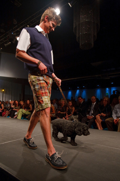 "(Denver, Colorado, May 21, 2011)<br /> Patrick Ballard with Tyson.  Mutts and Models fashion show, themed ""Breakfast at Sniffany's,"" at Exdo Event Center in Denver, Colorado, on Saturday, May 21, 2011.<br /> STEVE PETERSON"