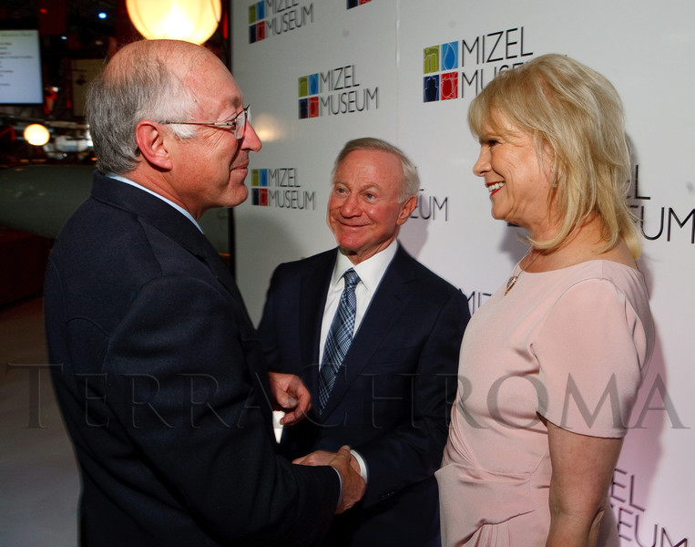 (Denver, Colorado, May 26, 2011)<br /> Ken Salazar greets Larry Mizel and Sharon Magness Blake.  The annual Mizel Museum gala at Wings Over the Rockies Air & Space Museum in Denver, Colorado, on Thursday, May 26, 2011.<br /> STEVE PETERSON