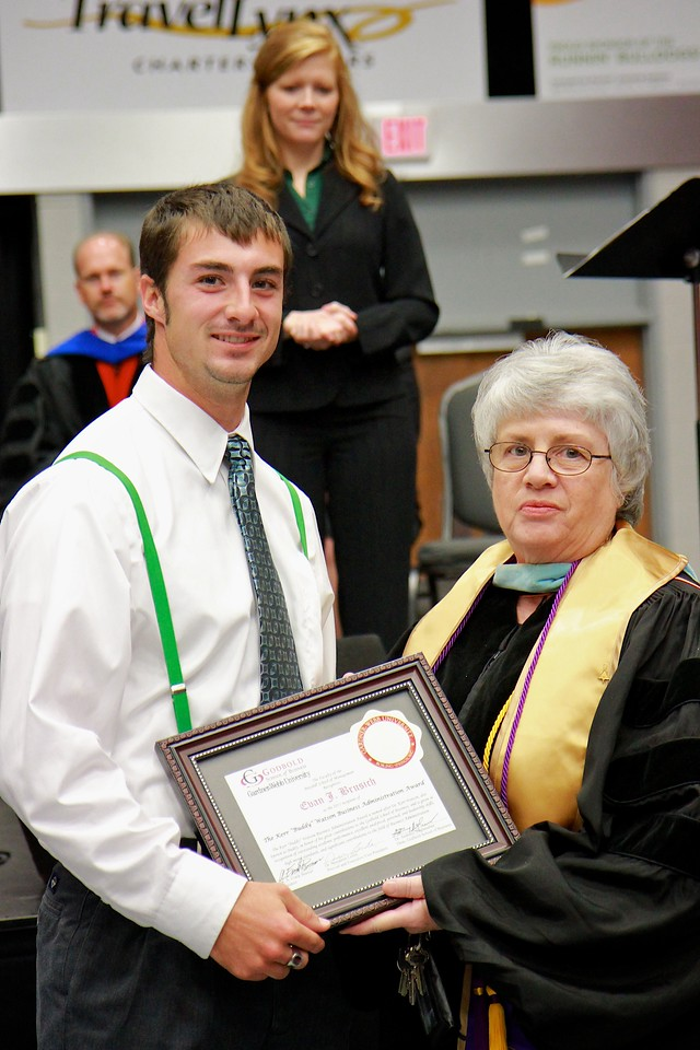 """56th Annual Academic Awards Day Ceremony. Kerr """"Buddy"""" Watson Business Administration Award: Evan James Brusich"""