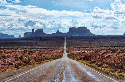 Looking South on Highway 163 at Mile Marker 13 at Monument Valley, Utah.  Processed using Topaz Adjust and Aperture.