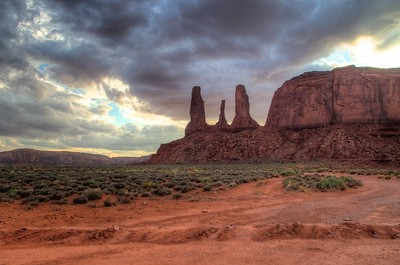Three Sisters at Monument Valley - HDR Processed in Aperture and Photomatix