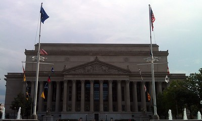 The National Archives Building, framed by the United States Navy Memorial (8/21/11)