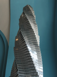 LEGO model of the proposed Chicago Spire, by Adam Reed Tucker, in the LEGO® Architecture: Towering Ambition exhibit at the National Building Museum (4/24/11)