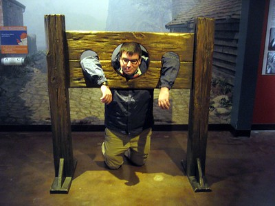 Jordan in a pillory at the National Museum of Crime & Punishment (3/8/11)